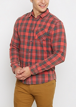 Red Faded Plaid Flannel Shirt