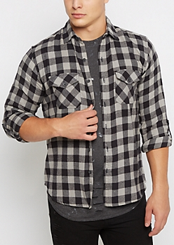 Gray Buffalo Plaid Flannel Shirt