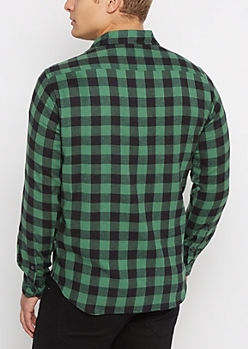 Green Buffalo Plaid Flannel Shirt