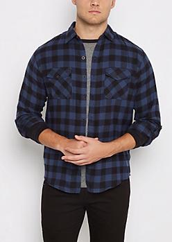 Navy Buffalo Plaid Flannel Shirt