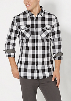 White Speckled Buffalo Plaid Button Down