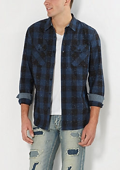 Navy Speckled Buffalo Plaid Button Down
