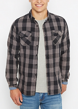 Black Vintage Buffalo Plaid Shirt
