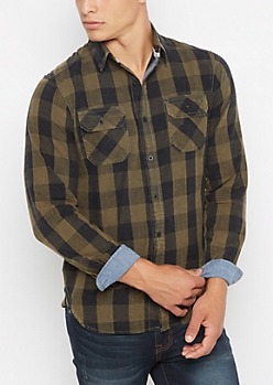 Dark Green Vintage Buffalo Plaid Shirt