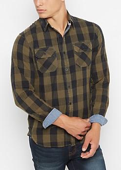 Dark Green Vintage Buffalo Plaid Shirt