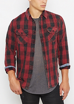 Burgundy Vintage Buffalo Plaid Shirt