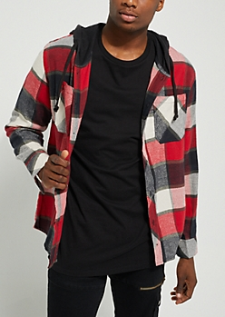 Red Flannel Hooded Button Down