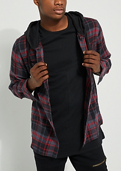 Black Flannel Hooded Button Down