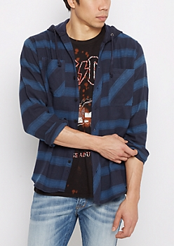 Blue Plaid Hooded Button Down