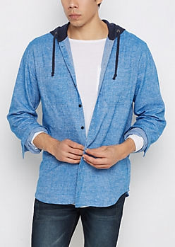 Blue Vintage Hooded Button Down