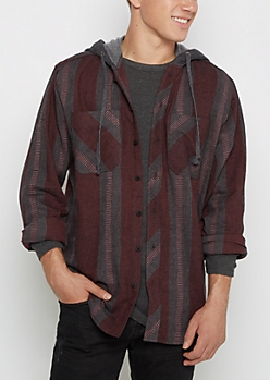 Vertical Striped Hooded Flannel Shirt