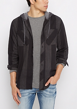Black Geo Stripe Hooded Button Down