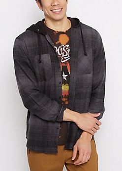Black Plaid Hooded Button Down