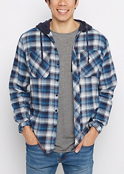 Blue Plaid Fleece Hooded Button Down