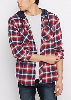 Red Plaid Fleece Hooded Button Down