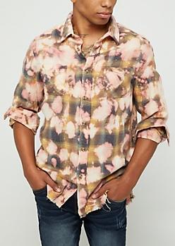Khaki Plaid Bleached Frayed Shirt