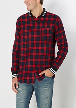 Varsity Red Plaid Flannel Shirt