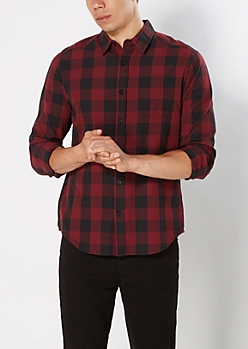 Burgundy & Black Buffalo Plaid Shirt