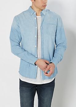 Washed Chambray Long Length Shirt