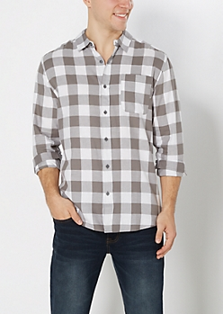 Gray Buffalo Plaid Shirt