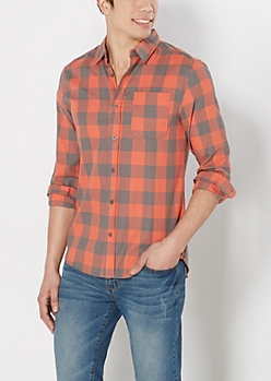 Coral Buffalo Plaid Shirt