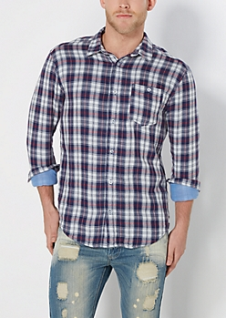 Navy Plaid Lined Button Down