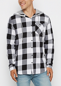 Hooded White Buffalo Check Longline Shirt