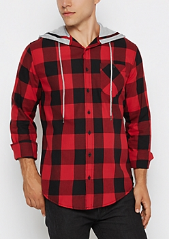 Hooded Red Buffalo Check Longline Shirt