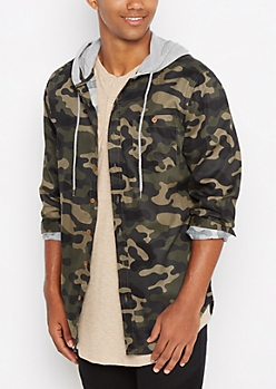 Hooded Camo Print Shirt
