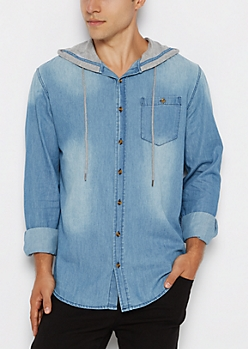 Jersey Hooded Chambray Longline Shirt