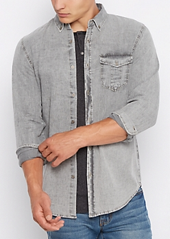 Gray Vintage Jean Long Length Button Down