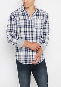 Navy Tartan Plaid Lined Button Down