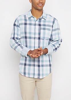 Blue Plaid Lined Button Down