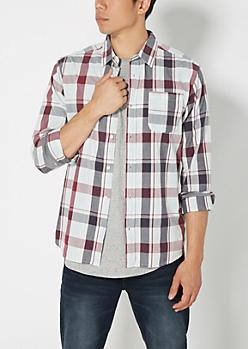 Burgundy & Gray Plaid Shirt