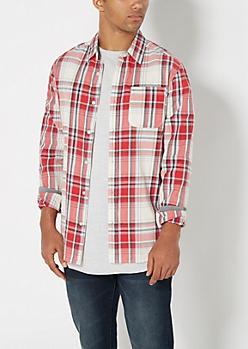 Red & Gray Plaid Shirt
