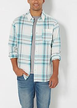 Turquoise & Gray Plaid Shirt