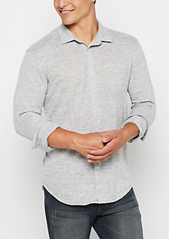 Heather Gray Soft Knit Button Down