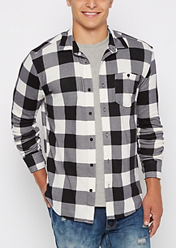 Black Buffalo Plaid Flannel Button Down