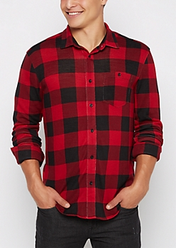 Red Buffalo Plaid Flannel Button Down