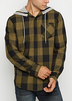 Hooded Olive Buffalo Check Longline Shirt