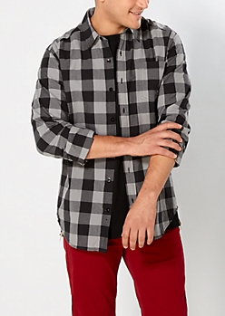 Gray Buffalo Plaid Button Down