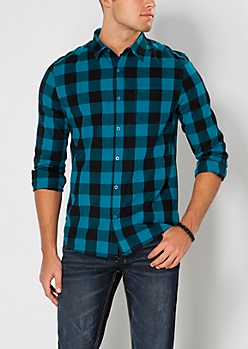 Teal Buffalo Plaid Button Down