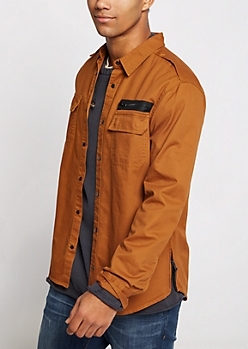 Camel Military Twill Button Down Shirt