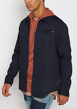 Navy Military Twill Button Down Shirt