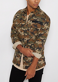 Camo Military Twill Button Down Shirt