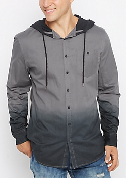 Charcoal Dip Dye Hooded Top