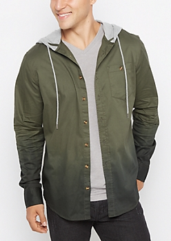 Olive Dip Dye Hooded Top