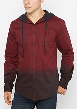 Burgundy Dip Dye Hooded Top