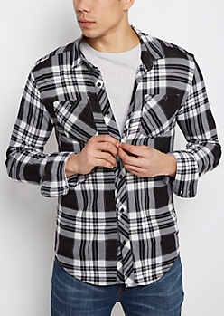 Black & White Plaid Hacci Knit Shirt