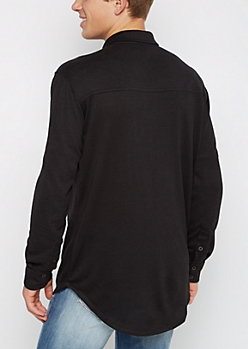 Black Hacci Knit Button Down